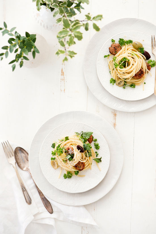 olive and chicken sausage pasta | designlovefest